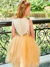 Scoop neck appliques zipper-up Blumenmädchen Kleid