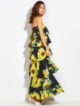 Off Shoulder Sunflower Print Backless Women's Vacation Layered Dress