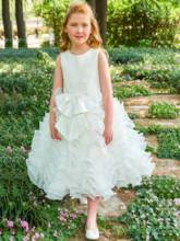 Scoop Neck Bowknot Tiered Tea-Length Flower Girl Dress