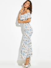 Falbala Patchwork Flower Print Vacation Women's Maxi Dress