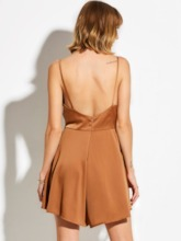 Plain Slim Backless Women's Romper