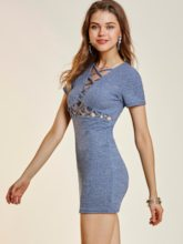 High-Waist Hollow Plain Women's Sheath Dress