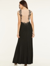 Scoop Neck Split-Front Lace Sheath Evening Dress