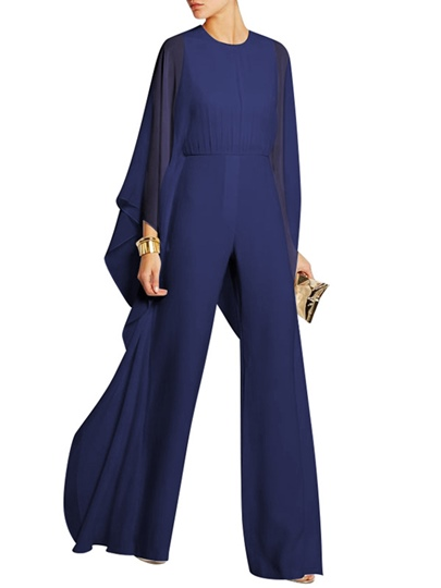 Plain Chiffon High Waist Wide Legs Women's Jumpsuit