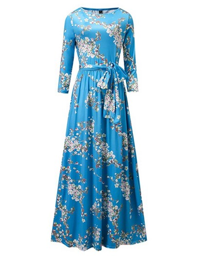 Floral Blue Women's Maxi Dress