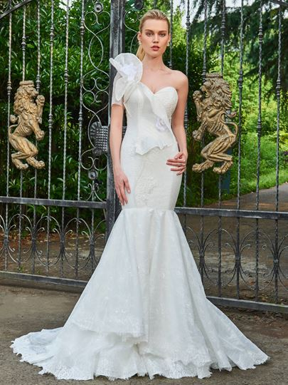 One Shoulder Ruched Mermaid Wedding Dress