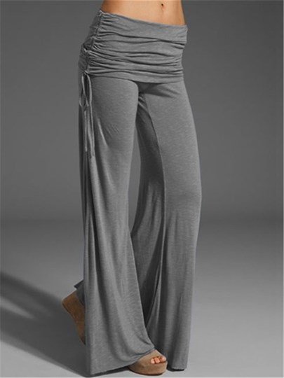 Solid Color Pleated Strap Palazzo Women's Pants