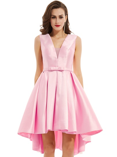 V Neck Zipper-Up Bowknot A Line Cocktail Dress