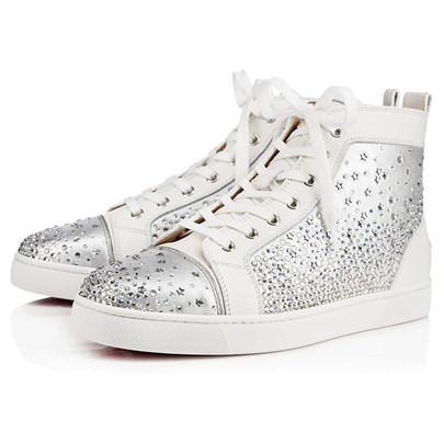 Rubber Outsole Rhinestone Platform Lace-Up Men's Basketball Shoes