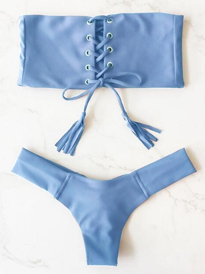 Sexy Hollow Rectangular Top & Triangle Bottom Bikini Set