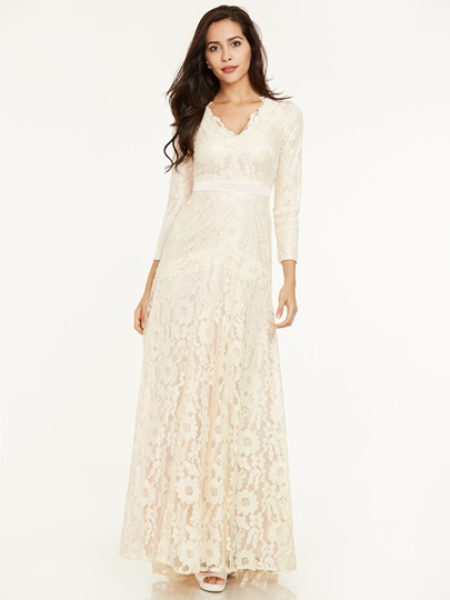 V Neck Sashes Long Sleeves Lace Long Evening Dress