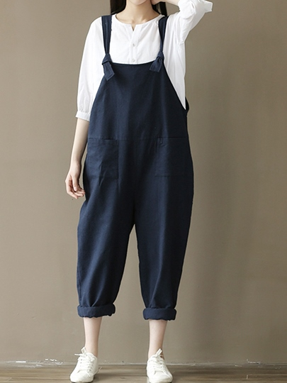 Loose Patchwork Pocket Women's Overalls