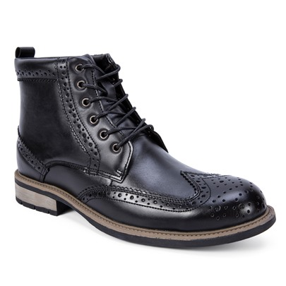 Block Heel Lace Up Men's Broguing Shoes