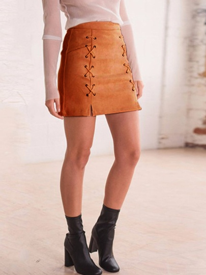 A-Line Lace-Up Women's Mini Skirt