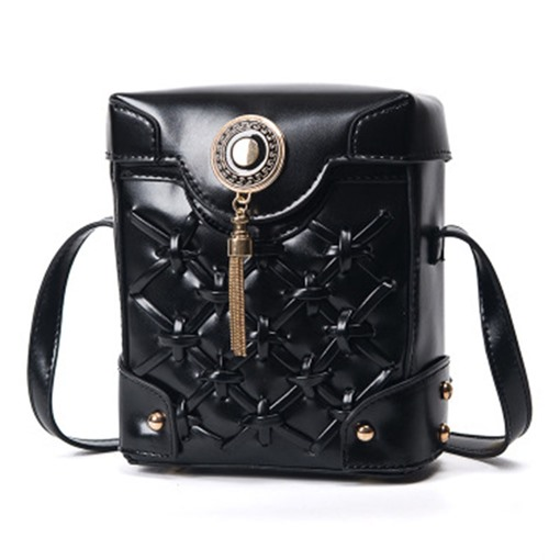 Chic Hollow-out Woven PU Cross Body Bag