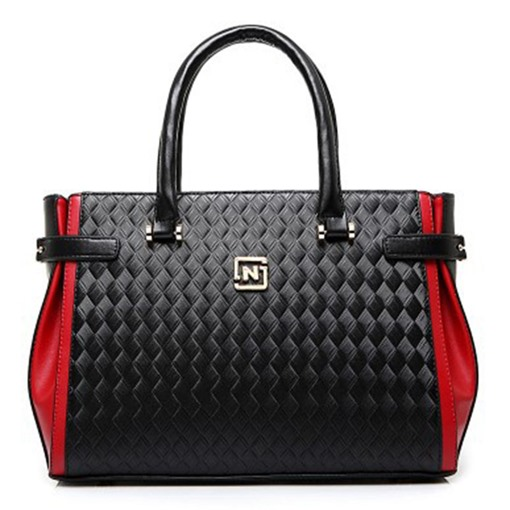 All-match Color Block Weaving Tote Bag