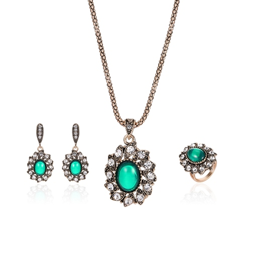 Oval Stone Inlaid Diamante Surrounding Jewelry Sets