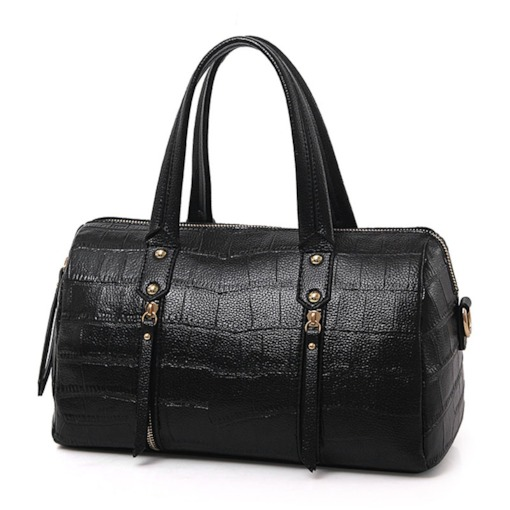 Crocodile Grain Cylinder Type Tote Bag