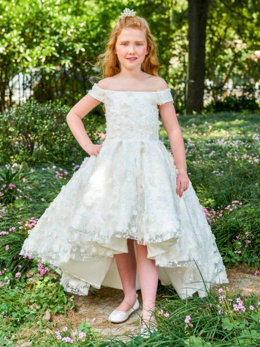 Off-The-Shoulder Ball Gown Lace Flower Girl Dress