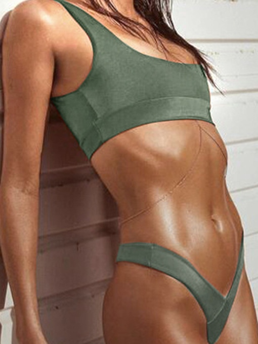 Sport Plain U-Neck Top & V-Shape Bottom Bikini Set