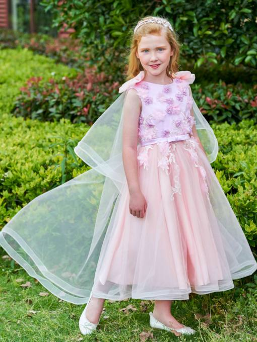 Scoop Neck Bowknot Tulle Ankle-Length Flower Girl Dress