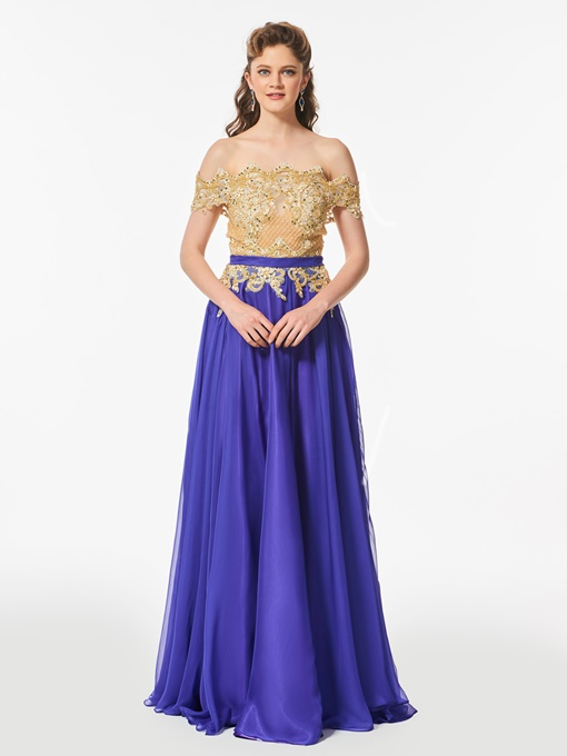 Off-the-Shoulder Appliques A-Line Beaded Short Sleeves Sashes Prom Dress