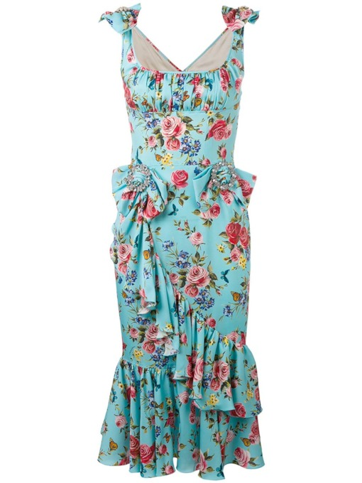 Square Neck Bodycon Vacation Floral Women's Maxi Dress