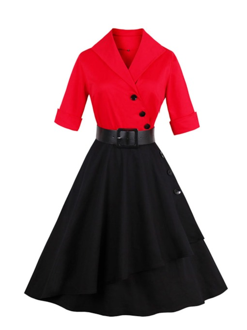 Lapel Buttons Women's Day Dress