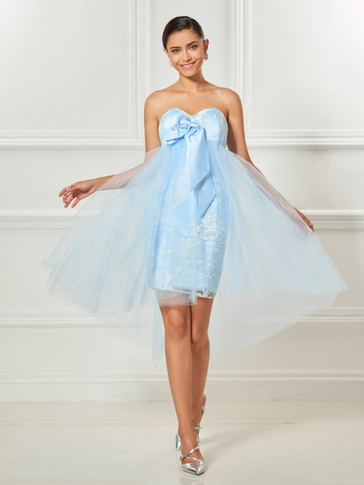 Sweetheart A-Line Bowknot Lace Asymmetry Cocktail Dress