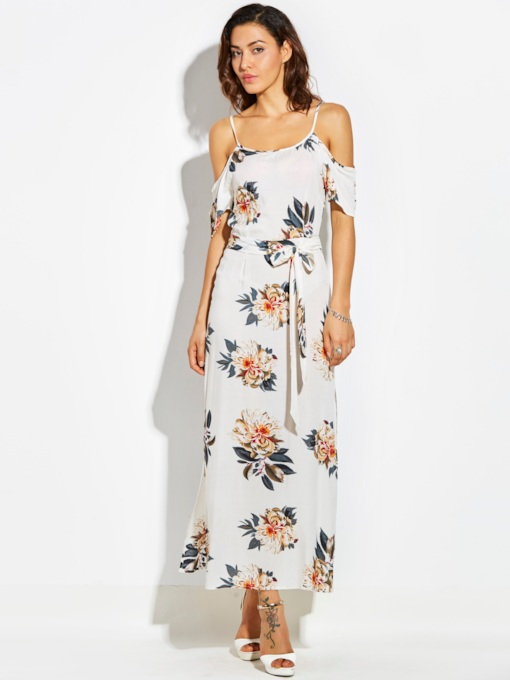 Spaghetti Strap Chiffon Vacation Print Women's Maxi Dress