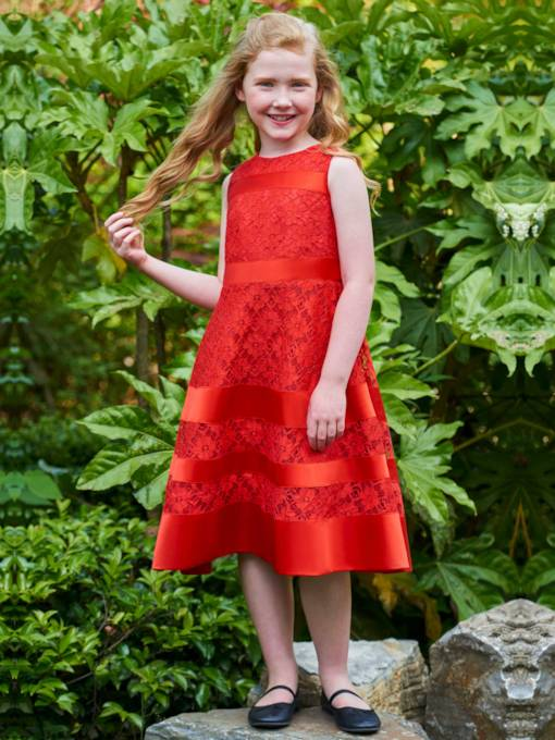 Lace Zipper-Up A-Line Flower Girl Dress