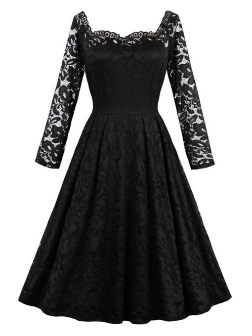 Slash Neck Black Women's Lace Dress