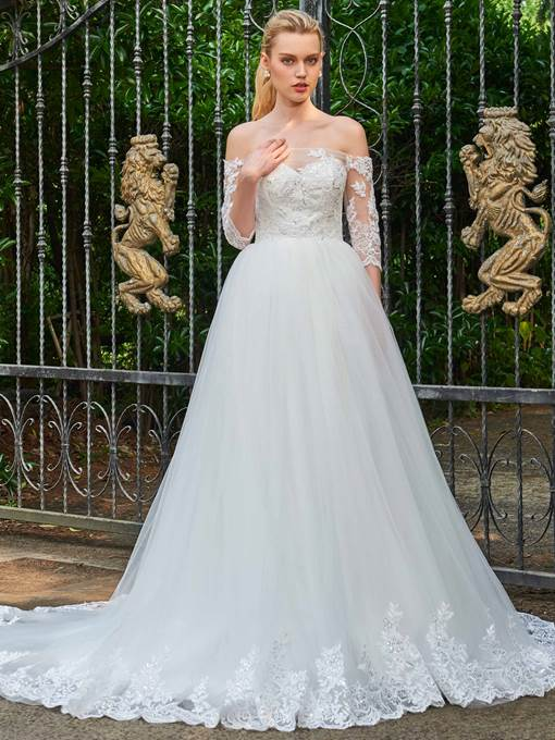 Off-The-Shoulder Appliques Court Train Half Sleeves Wedding Dress
