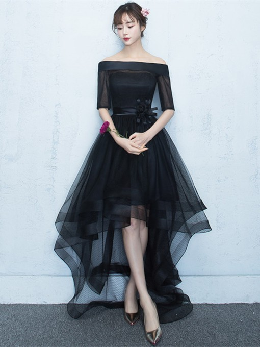 Bowknot Off-the-Shoulder Asymmetry Homecoming Dress