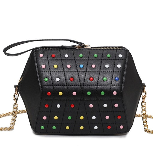 Colorful Rivets Embroidery Line Cross Body Bag