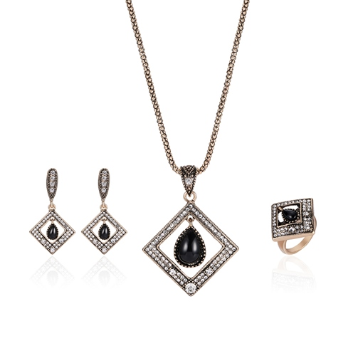 Vintage Square Diamante Stone Inlaid Jewelry Sets