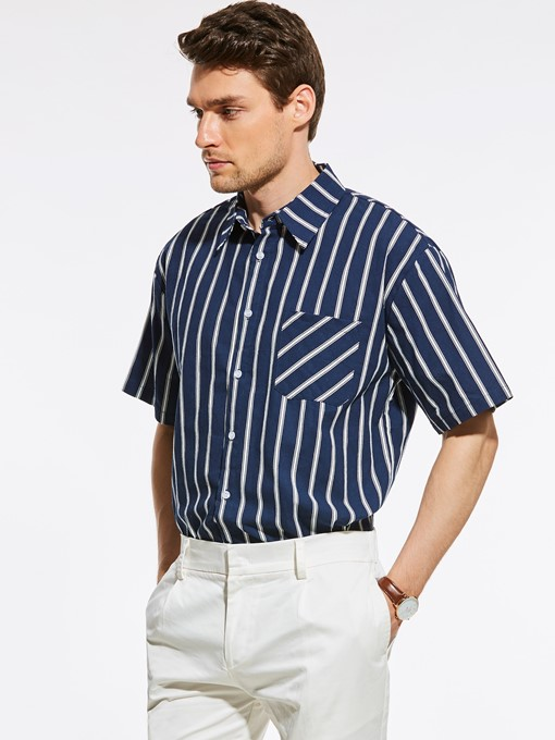 Stripe Unique Print Pocket Men's T-Shirt