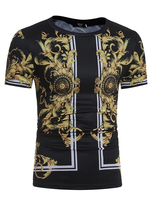 Round Collar Vintage Ethic Printed Slim Men's T-Shirt