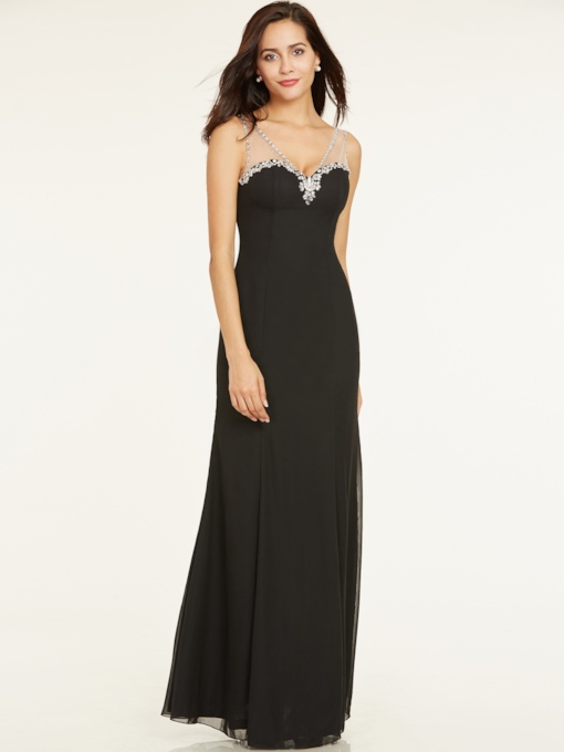 Elegant V-Neck Beaded A-Line Floor-Length Evening Dress