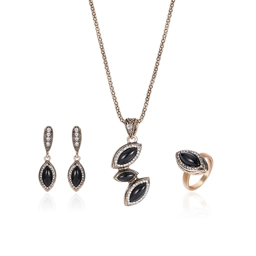 Glossy Black Rhinestone Diamante Simplicity Jewelry Sets