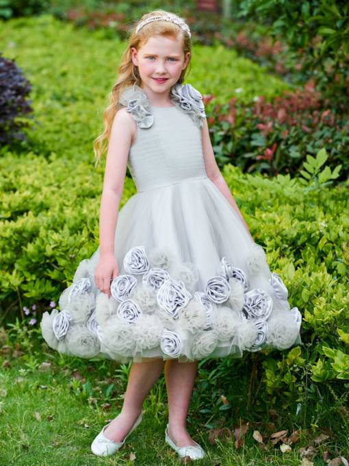 Scoop Neck Flowers Tea Length Girl's Party Dress
