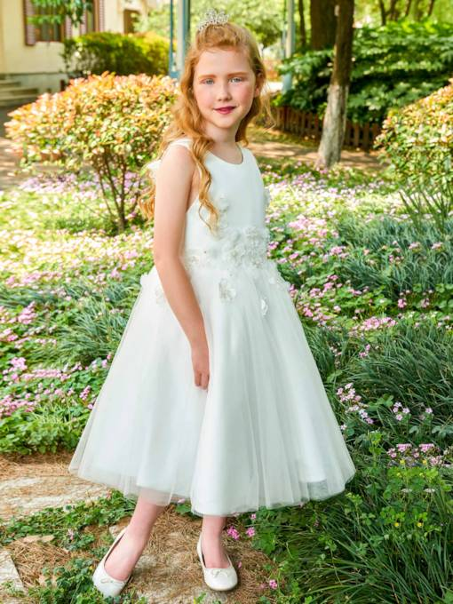 Straps Appliques Tea-Length Flower Girl Dress