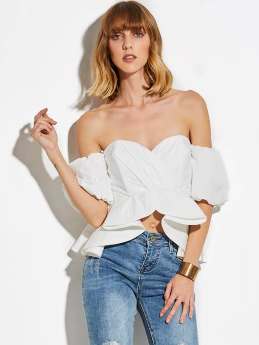 Back Zipper Off-Shoulder Plain Asymmetric Women's Blouse