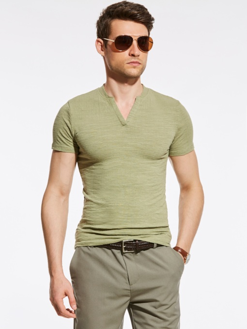 V-neck Plain Slim Fit Men's T-Shirt