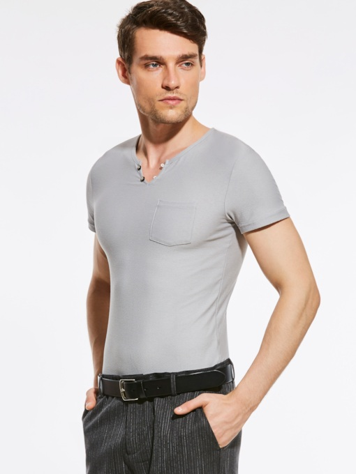 Slim Fit Short Sleeve Plain Men's T-Shirt