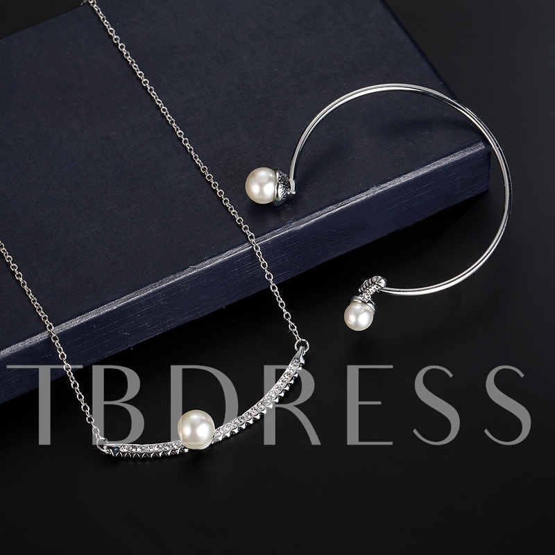 Pearl Diamante Arc-Bar Jewelry Sets