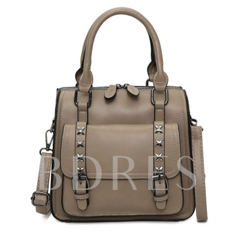 Vogue Double Belt Buckle Decoration Tote Bag