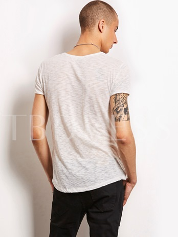 Round Collar Solid Color Slim Plain Men's T-Shirt