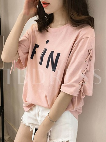 Lace-Up Sleeve Letters Print Women's T-Shirt