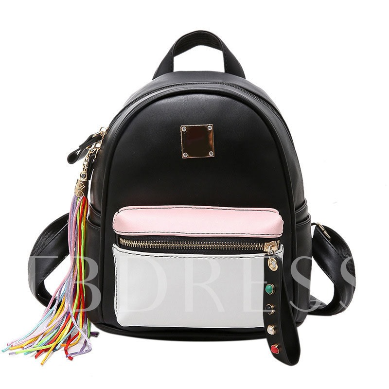 Preppy Style Colorful Tassel Pendant PU Backpack
